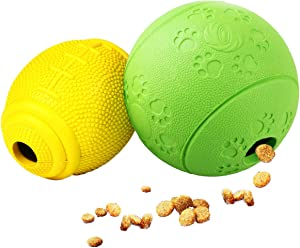 AD Treat Ball - Interactive Dog Toys - Non-Toxic & Durable Rubber Treat Food Dispenser IQ Ball for Pet Puppies and Cat Chasing Chewing Playing