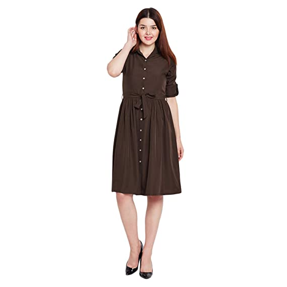 78f2e0368008 Wisstler Coffee Brown Poly Crepe Shirt Dress  Amazon.in  Clothing ...