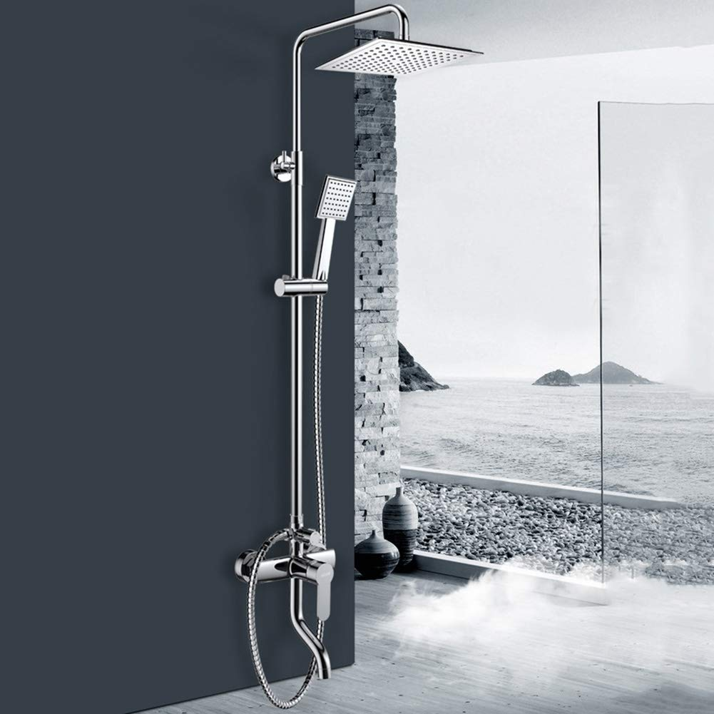 KALRTO Square Shower Set, ABS Hand-held Supercharged Shower Head, Full Copper Faucet, Wall-mounted With Lift, Chrome, Bathroom bathtub