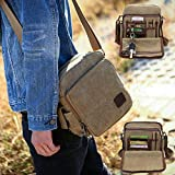 Urmiss Canvas Small Messenger Bag Casual Shoulder Bag Travel Organizer Bag Multi-pocket Purse Handbag Crossbody Bags
