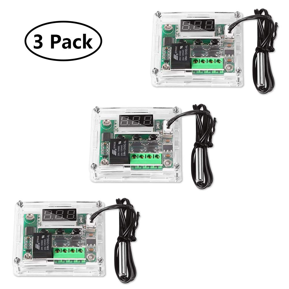 3 Pack Temperature Controller Module with Case, XH W1209 Display Digital Thermostat Module with Wate