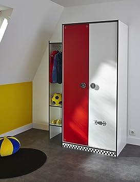 Penderie Armoire enfant 2 portes 125 x 186 cm-Rouge/Blanc ...
