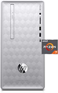 HP Pavilion Desktop Computer, AMD Ryzen 7 1700, 12GB RAM, 1TB Hard Drive, Windows 10 (590-p0060, Silver)