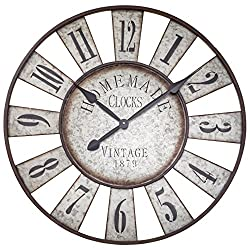The Iconic Farm Fair Game Wheel Clock, Vintage Analog Clock, Galvanized Metal, Over Sized Rustic Round, Over 2 Ft Diameter, Cordless, 1 AA Battery (Not Included) Shabby Vintage Style