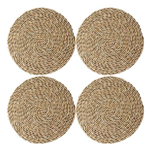 wellhouse Natural Cattail Placemats Round Woven Straw Placemats Rattan Placemats Handmade Dining Table Mats Insulation Pad No-Slip Pads (11.8Inch, Cattail-4)