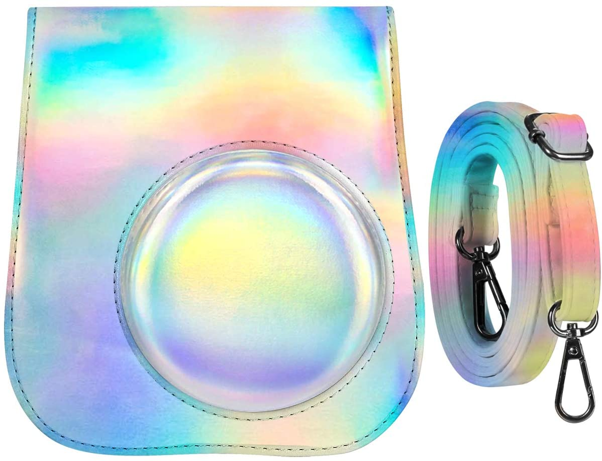 Katia Camera Case Compatible for Fujifilm Instax Mini 11/9/ 8+/ 8 Instant Film Camera with Photo Accessories Pocket and Shoulder Strap (Laser Grey)