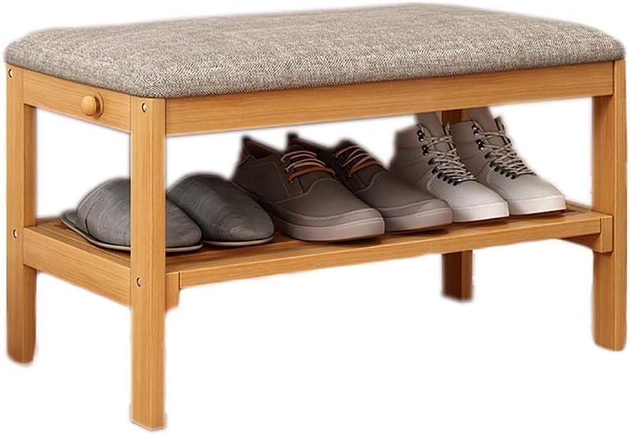 靴のベンチ収納スツール靴箱無垢材座ってホール (色 : B)