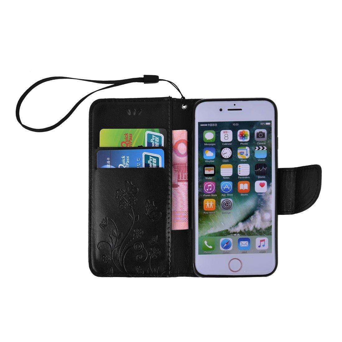 Amazon.com : eDealMax Cuero de la Flor de Mariposa de la cubierta del caso del tirón del patrón Monedero Negro Shell Para el iPhone 7 : Sports & Outdoors
