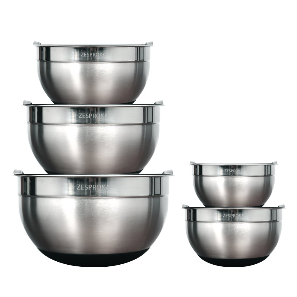 ZESPROKA Set of 5 Stainless Steel Nesting Mixing Bowls with Lids, Measurement Lines and Non-Stick Silicon Bottoms
