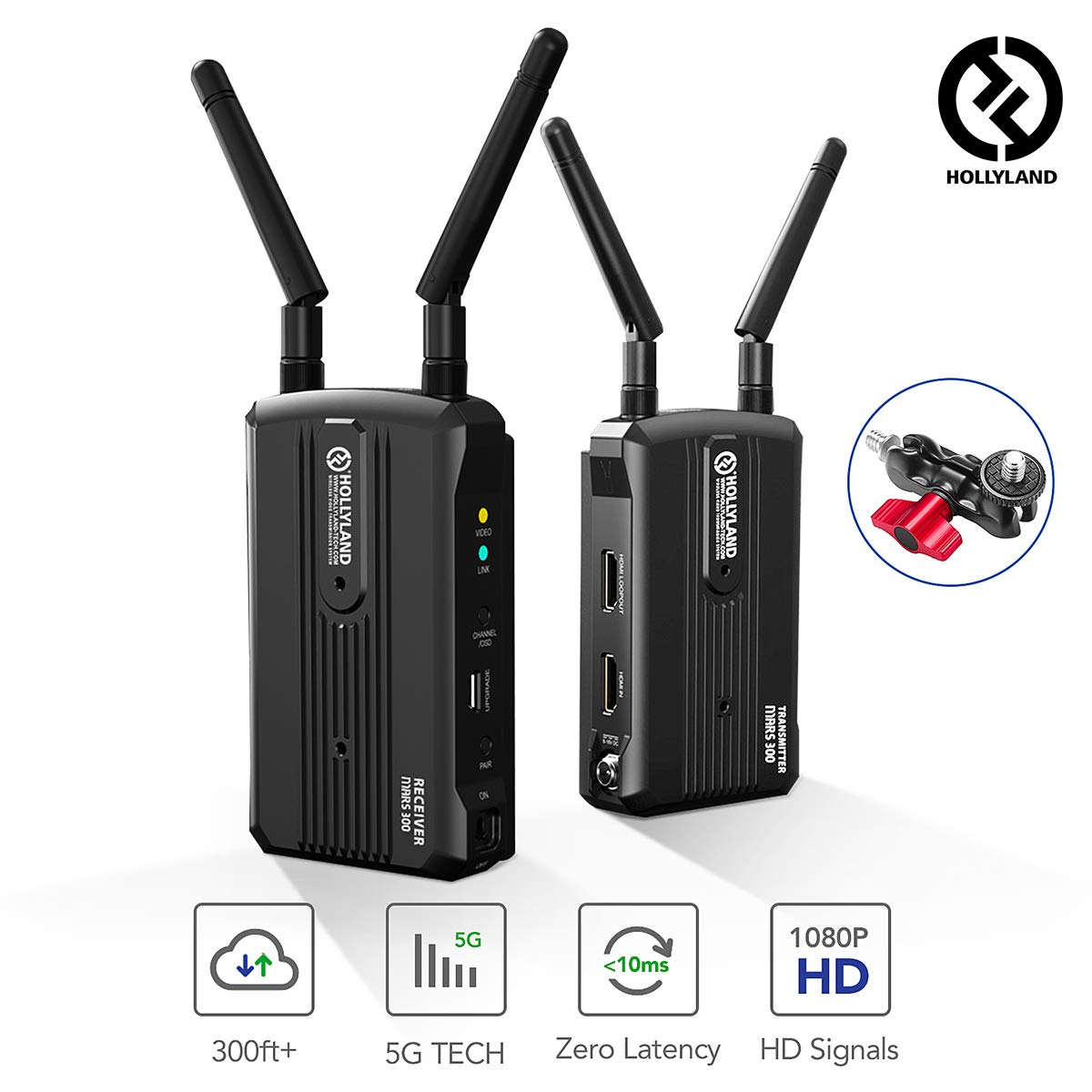 Wireless HDMI Video Transmitter and Receiver Kit, Hollyland Mars 300 5G Image Transmission System Support HD 1080P 300 Feet for DSLR and Mirrorless Camera Gimbal with Multi-Function Double Ballhead by Hollyland
