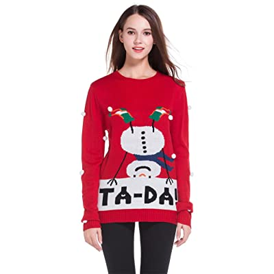 *daisysboutique* Women's Christmas Cute Snowman Snowflake Knitted Sweater Girl Pullover
