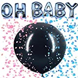 OH Baby Gender Reveal Balloon Party Supplies: 16'' Foil OH Baby Letters with 36'' Black Gender Reveal Balloon with Blue/Pink Confetti Circles. Great for Baby Shower. by PartyBox!