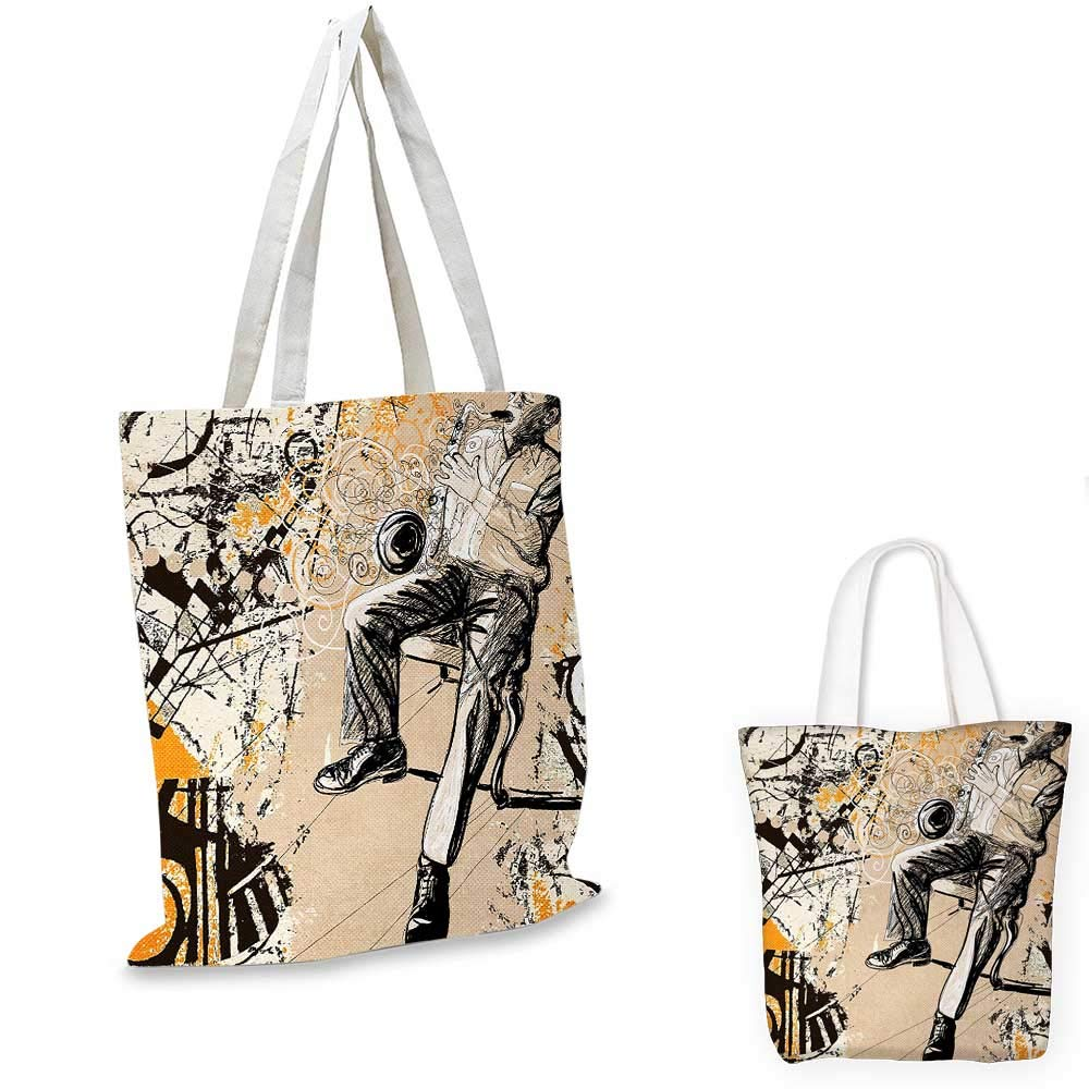 14x16-11 African canvas messenger bag Saxophonist on Murky Backdrop Playing Music Rhythm Groovy Band Artwork canvas beach bag Marigold Tan Black