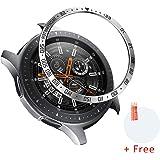 Laforuta Galaxy Watch 46mm ベゼルリング Gear S3 ベゼルカバー ステンレス製 金属感 ベゼルカバー スタイルリング for Samsung ギャラクシーウォッチ46mm/ギア S3 カバー (銀+黒)