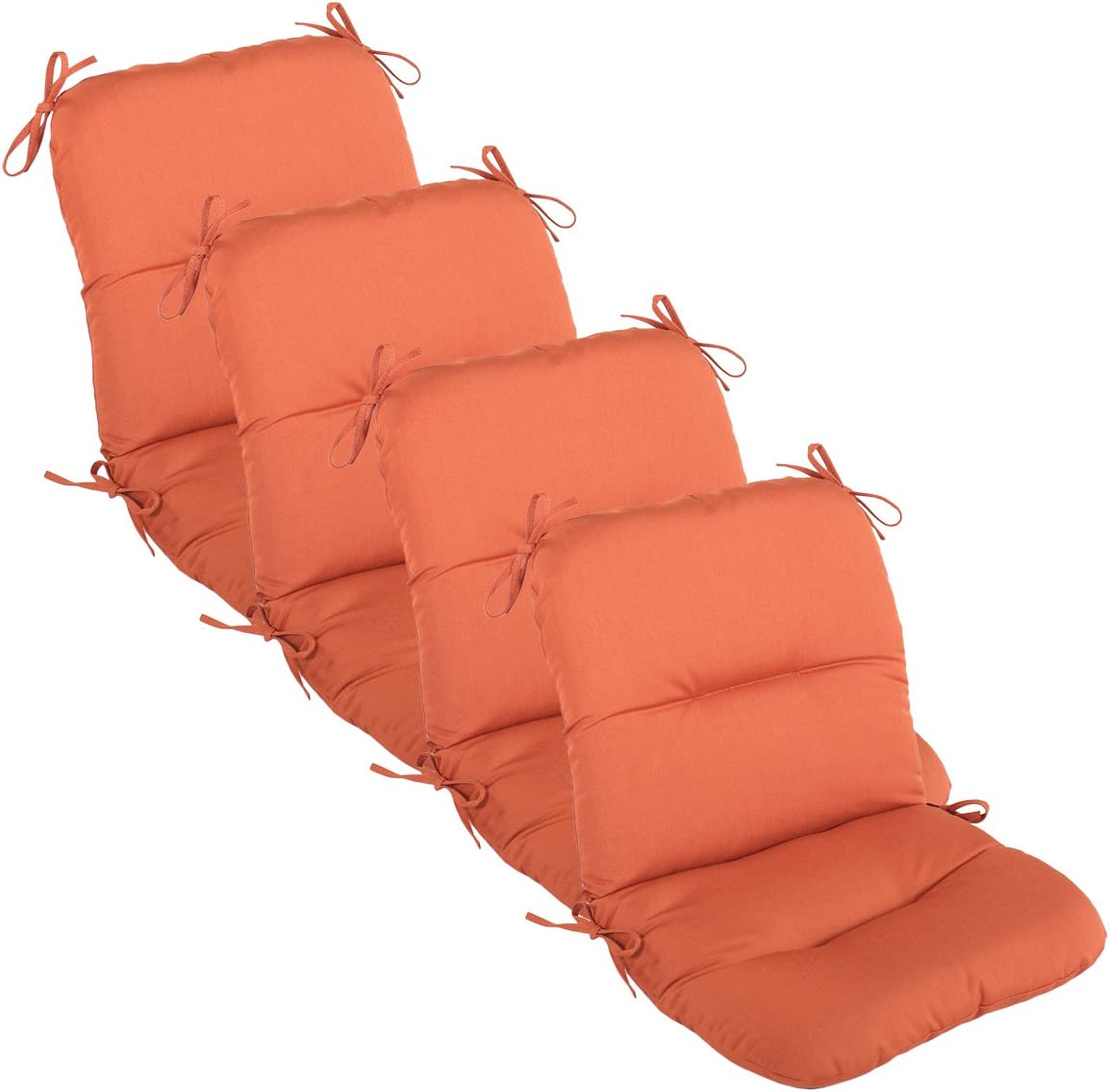 Comfort Classics Inc. Set of 4 Outdoor Chair Cushions 20 x 36 x 3 H-19 in Sunbrella Fabric Broadcloth Flame Made in USA