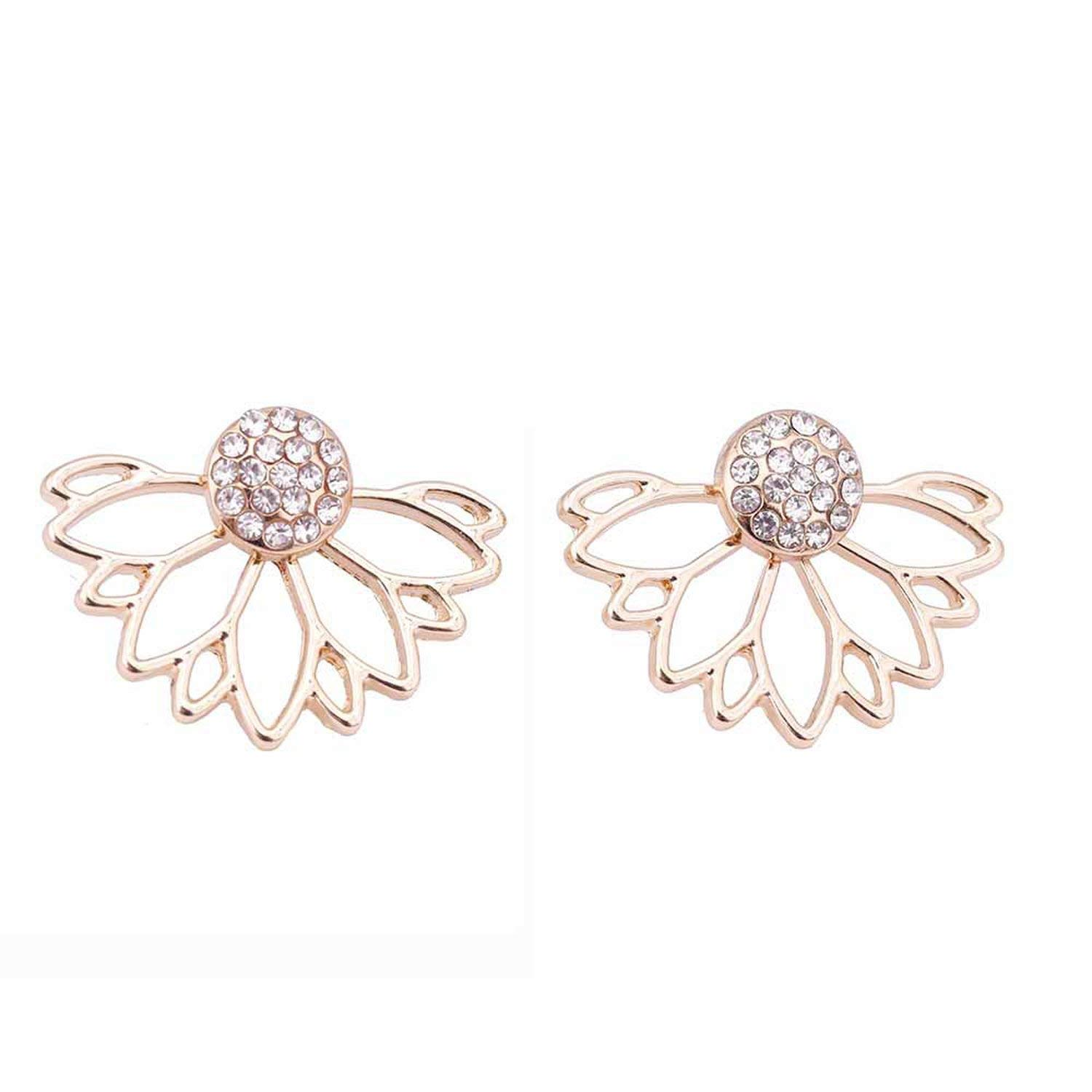 Peony red 2019 Crystal Flower Stud Earrings For Women fashion Jewelry gold sliver Simple design Rhinestones Earring jewelry e0400