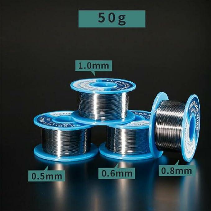 Qotone 0.6MM 50g alambre de soldadura de estaño bajo punto de fusión soldadura resina de estaño para reparación de soldadura de retrabajo: Amazon.es: ...