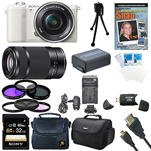 Sony a5100 ILCE5100L/W ILCE5100L ILCE5100 ILCE5100lb 16-50mm Interchangeable Lens Camera (White) and SEL 55-210 Zoom Lens (Black) with 3-Inch Flip Up LCD (Black) Bundle with Sony 32GB Class 10 SD card, Spare Battery, Rapid AC/DC Charger + More (Fast Zebra Charger)