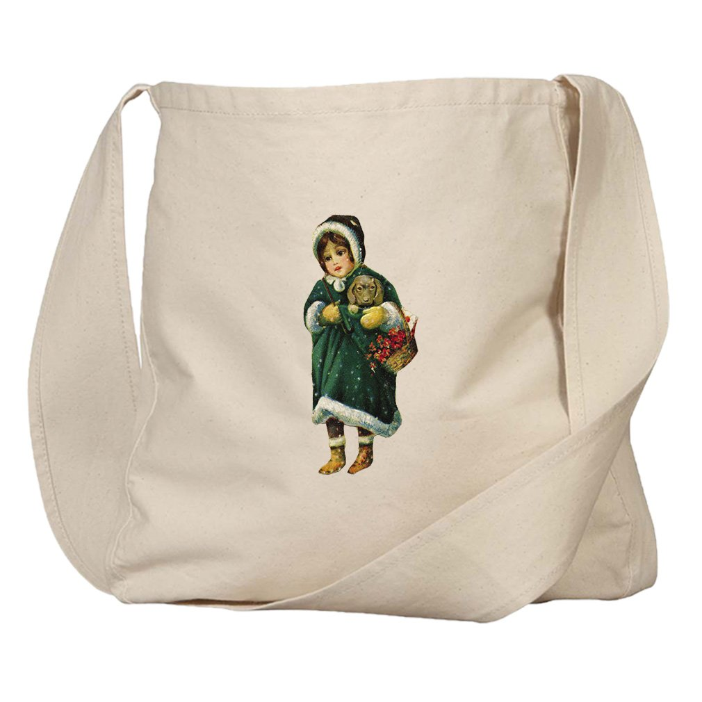 Market Bag Organic Canvas Girl Green Coat Holding Puppy Christmas by Style in Print (Image #1)