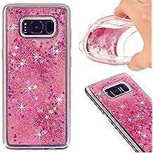 Samsung Galaxy S8 Shiny Liquid Star Case-Auroralove Pink Cute Funny Creative Flowing Crystal TPU Glitter Fashion Beauty Case for Samsung S8