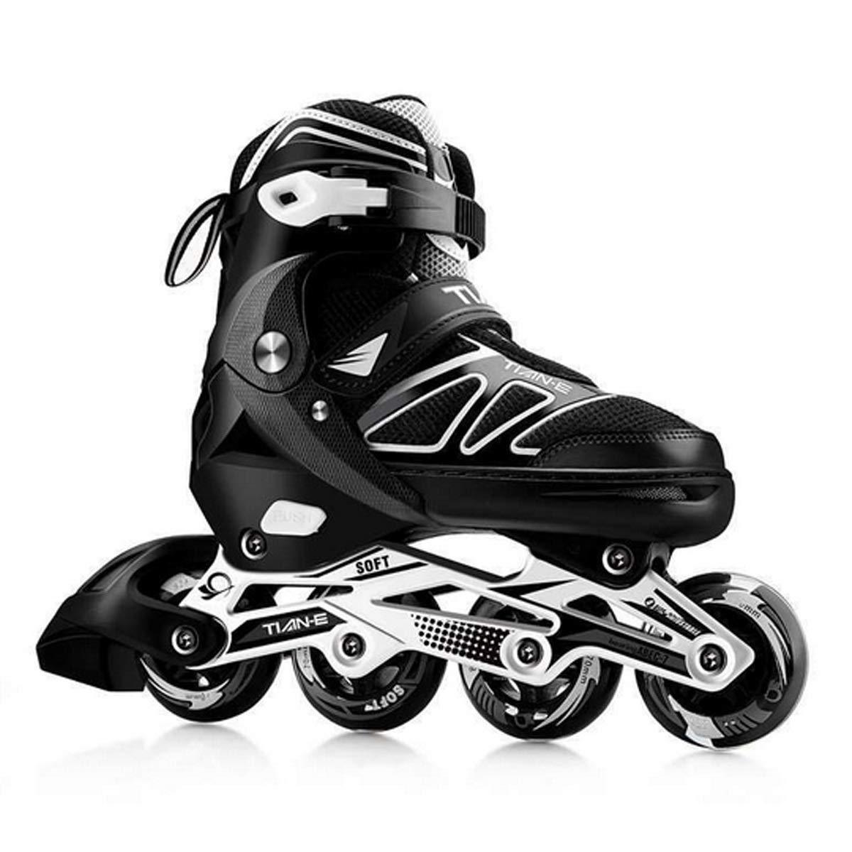 ローラーブレード、インラインスケート、調節可能な19-29CM子供/大人用、黒  Medium