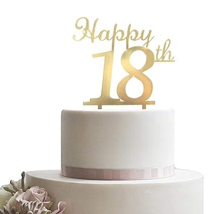 Decoración para tarta de oro de 18 años, cumpleaños ...