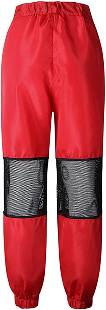 XWDA Womens Fashion Casual Tie Waist Zipper Stitching Yoga Sports Jogger Sweatpants