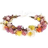 Adjustable Flower Crown Floral Headpiece Halo Headband Boho with Ribbon Hair Wreath Wedding Festival Party (Multicolor)