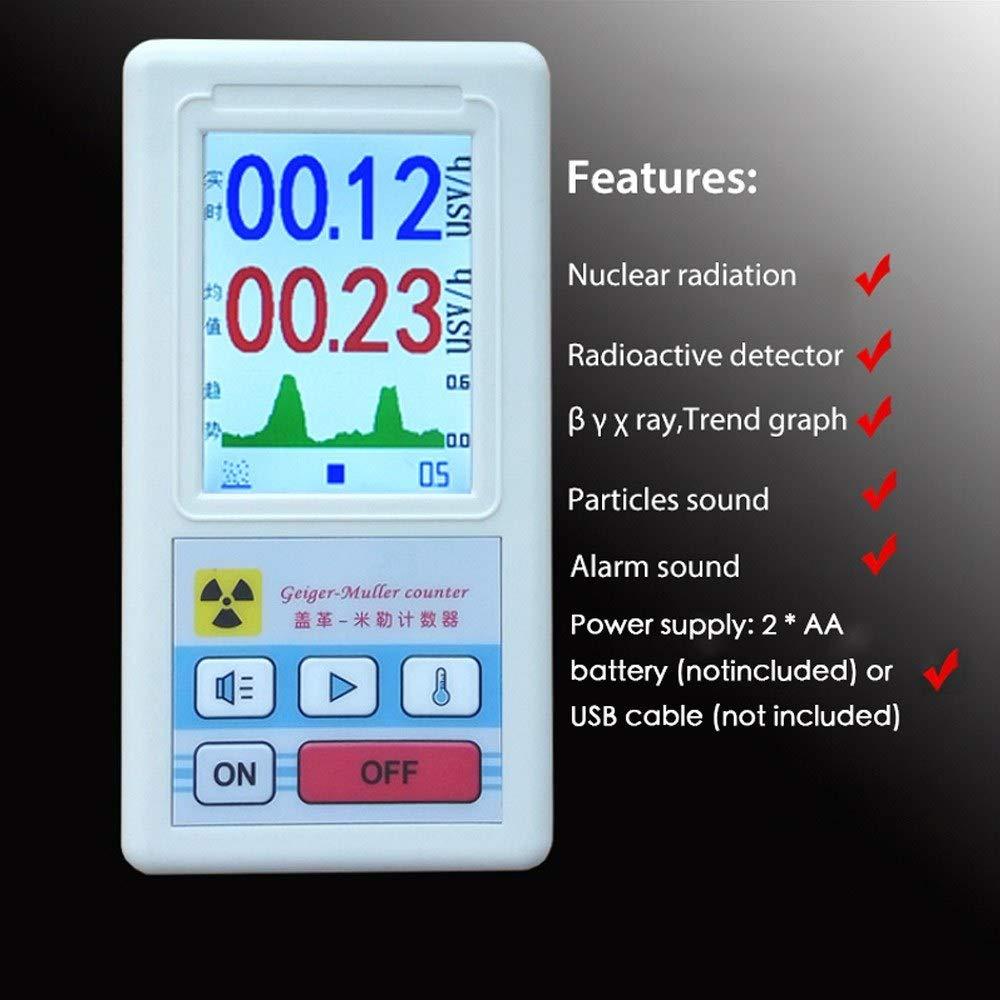 Nukana Bildschirm Geigerz/ähler Nuklearstrahlungsdetektor Personaldosimeter Marmordetektoren Beta Gamma-R/öntgentester