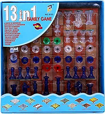 SHOPEE Chess Board Game,13 in 1 Magnetic Ludo Chess Snacks Ladders Set - Multi Color