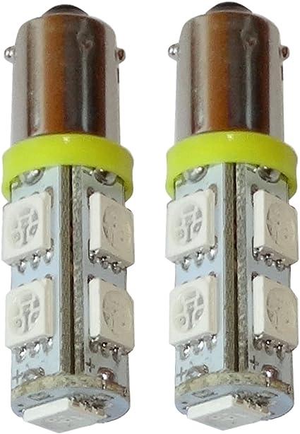 luz del techo del compartimiento del motor y del maletero AERZETIX: 2 x Bombillas rojo T4W T5W BA9s 12V 5LED SMD para iluminacion interior luz de matricula luces umbrales de puertas