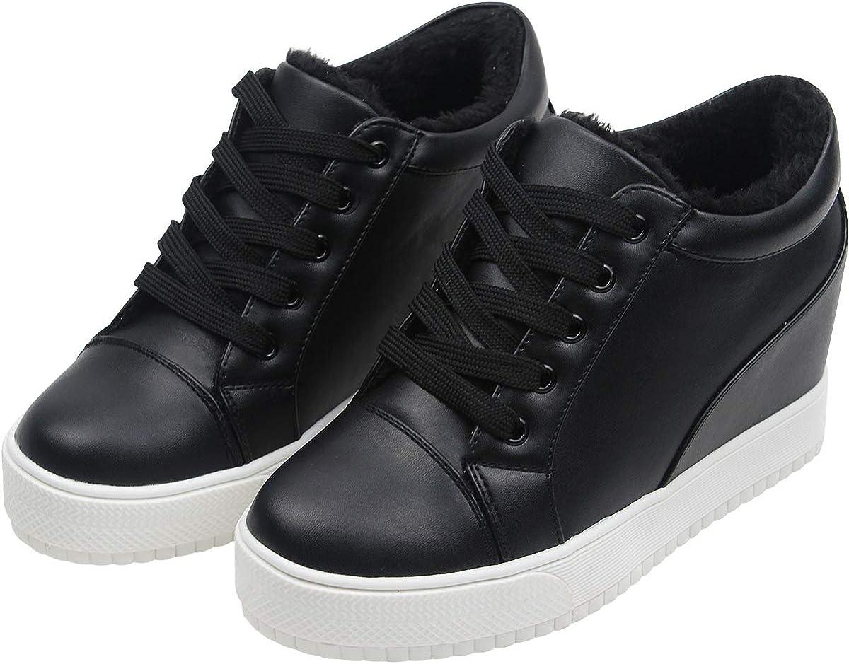 wealsex Baskets Compens/ées Femme PU Cuir Mesh Dentelle Sneaker Chaussures de Tennis
