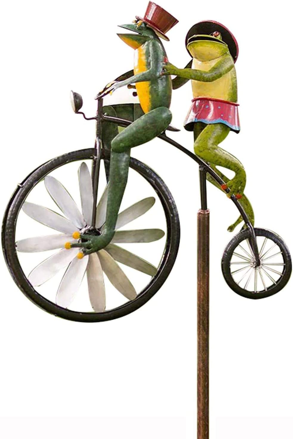 Bicycle Garden Spinner Solar Wind Spinner Metal Frogs Wind Sculptures Windmills for The Yard Art Wind Spinner Garden Decorations Outdoor Yard Patio Lawn for Animal Sculpture Wind Catchers Frog