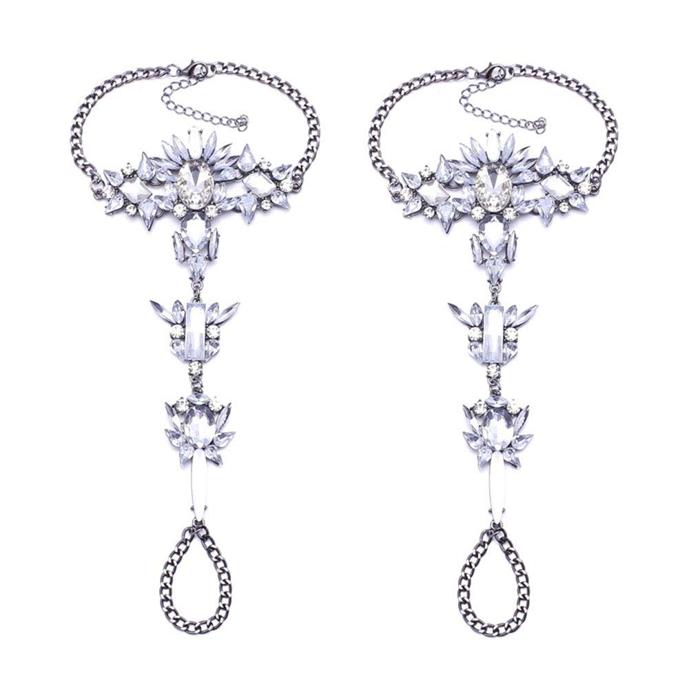 1 Pair Boho Crystal Anklets Foot Jewelry Punk Statement Barefoot Sandals Bridal Wedding Foot Chain (Purple crystal)