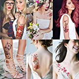 Kotbs 6 Sheets Large Temporary Tattoos Flower Paper Sexy Body Tattoo Sticker for Women & Girl Fake Tattoo (Lily, Peach, Plum, Peony)