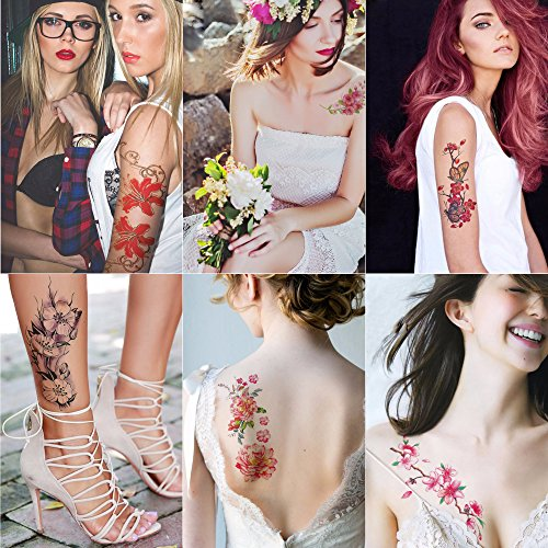 Kotbs 6 Sheets Large Temporary Tattoos Flower Paper Sexy Body Tattoo Sticker for Women & Girl Fake Tattoo (Lily, Peach, Plum, Peony) ()