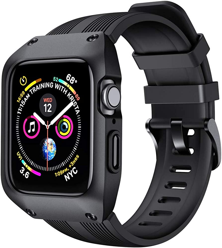 OXWALLEN Protection Stellar Series for Apple Watch Band with Case 44MM 40MM 42MM 38MM Series 6/SE/3/4/5, Liquid Silicone Straps with Protective Bumper Cover for iWatch Men Women
