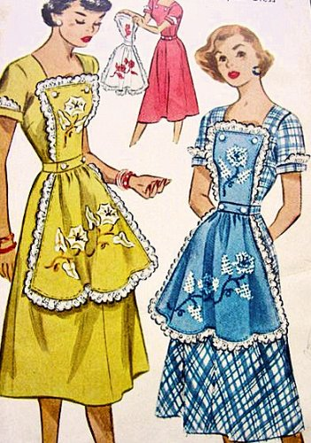McCalls 1608 Misses' Button-On Apron Dress Sewing Pattern Vintage 1951