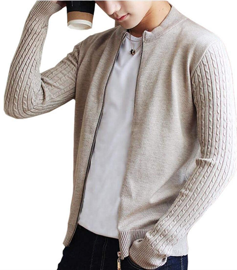Alion Mens Classic Knitting Zip Front Long Sleeve Slim Cardigan Sweaters