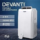 Devanti Portable Air Conditioner 4-in-1 Mobile Fan Cooler Dehumidifier 22000BTU