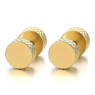 Item 7 Mens 18k Yellow Gold Finish Lab Diamond Back Hip Hop Stud Earrings