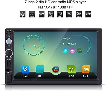 AM//FM//RDS//AUX HD Reproductor MP5 de Coche Radio de Coche con Pantalla T/áctil de 7 Pulgadas M/últiples Idiomas del Sistema CD Est/éreo de Doble Canal Sistema de Navegaci/ón GPS
