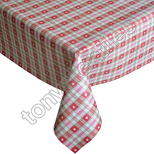 Tony's Textiles Plastic Reusable Tablecloth Wipeable PVC Vinyl Party Garden Kitchen Kids Red Love Large Rectangle (280x 137cm) from Tony's Textiles