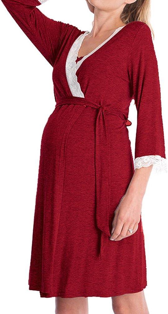 Womens 3//4 Sleeve Fashion Lace Stitching Pregnancy and Nursing Breastfeeding Dress Nightdress Nightgown Sleepwear Soft Loose Comfortable Wine Red,Navy Blue,Black,Light Grey,Dark Grey S-2XL