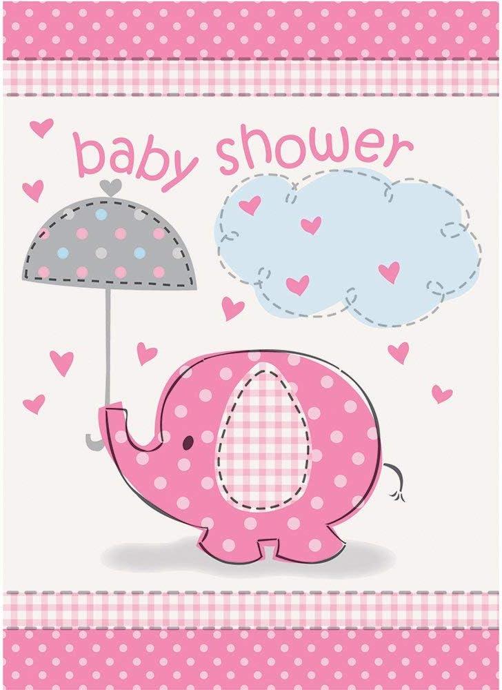Amazon Com Pink Elephant Girl Baby Shower Invitations 8ct Kitchen Dining