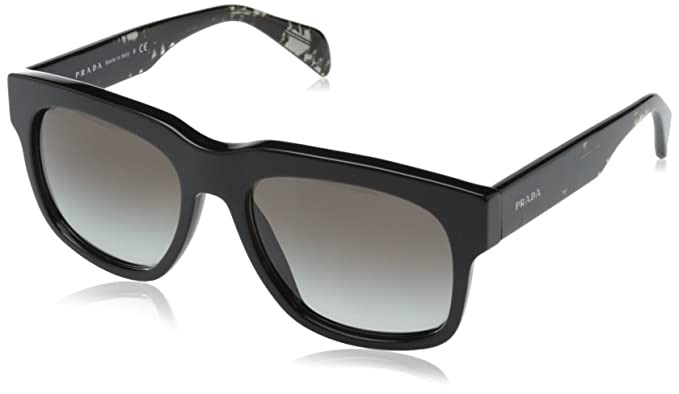 Prada Lunettes de soleil Sixties Style PR14QS Black, 55  Amazon.fr   Vêtements et accessoires 8b3701be0a2