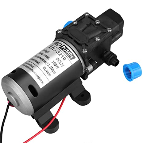 Diaphragm Pump, 12V 8L/Min High Pressure Self Priming Water Pump with  Average Working Pressure 100psi for Wash Home Use, DC 100W