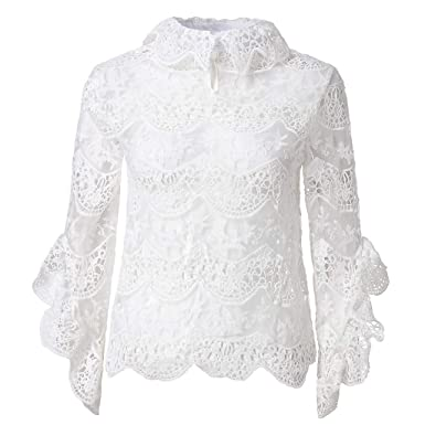 3d943c77692bea Amazon.com: Behkiuoda Women White Lace Tops Cocktail Party Outwear Loose  Shirts Pullover Tee Tunic Long Sleeve T-Shirt: Clothing