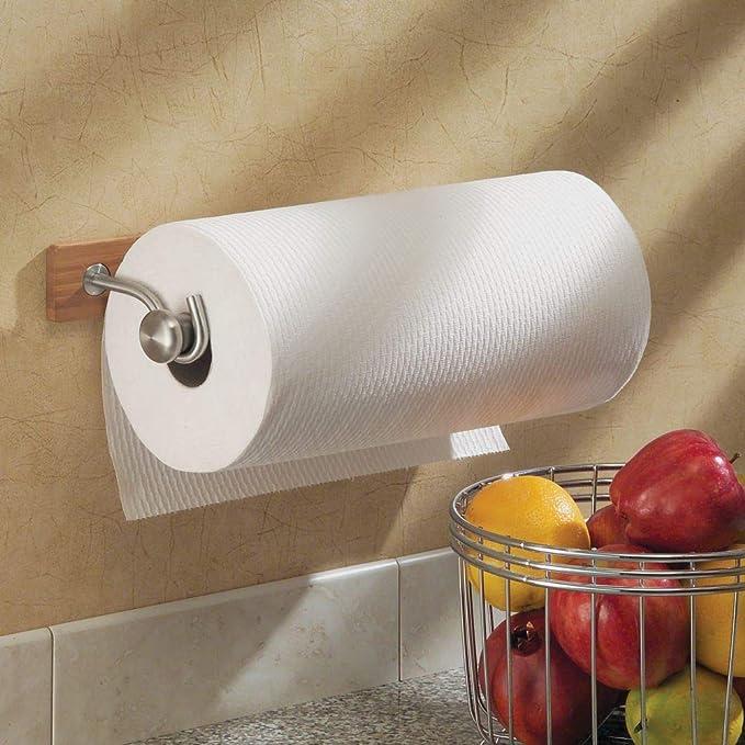 Fast Deliver Adhesive Paper Towel Wooden Holder Storage Rack Organizer Tissue Shelf Under Cabinet Cupboard For Kitchen Bathroom Home Superior Performance Bathroom Fixtures Bathroom Shelves