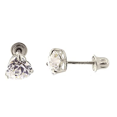 772828f95 14k White Gold Cubic Zirconia Heart Stud Earrings with Safety Screwbacks -  4mm